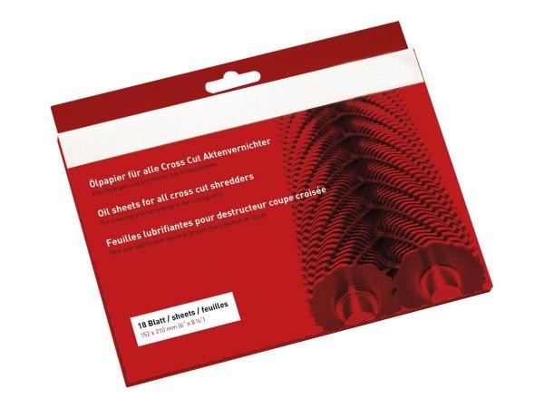 1 VE Ölpapier (18 Blatt) für Cross Cut Aktenvernichter.